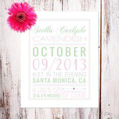 "Personalized Wall Art Nursery Decor & Birth Announcements ""Bundle of Love"" Personalized Birth Announcement Art Print by Daisy Print Co"