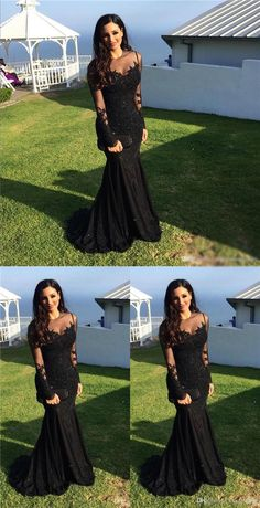 Black Lace Mermaid Popular Prom Dress, Sexy Fashion Dress For Party, Long Sleeves Scoop Prom Dress · cutedressy · Online Store Powered by Storenvy Prom Dresses Long With Sleeves, Grad Dresses, Black Wedding Dresses, Bridesmaid Dresses, Formal Dresses, Mermaid Dresses, Lace Mermaid, Black Mermaid Dress, Mode Inspiration