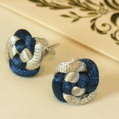 Chinese Knot Flower Stud Earrings - Sapphire Blue and Silvery Gray