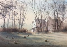 Peter Cronin Early morning Llantwit Major to cowbridge road. Watercolor Artists, Watercolour Painting, Painting Illustrations, Early Morning, Landscape Paintings, Ranch, Buildings, Houses, Inspire