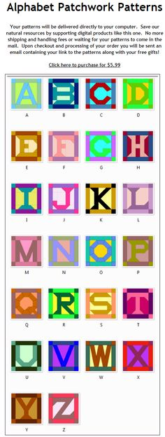 Modelos de blocos de ALFABETO para patchwork (patterns) do site http://www.blockcrazy.com/