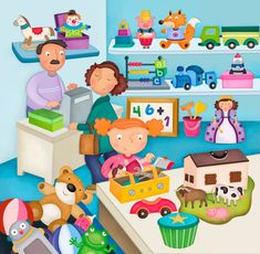 Praatplaat speelgoedwinkel, kleuters
