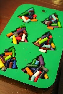 Put broken crayons into silicone molds, bake at 275F for 10 minutes. Let cool before removing. What a great idea for Christmas to keep the younger ones busy !