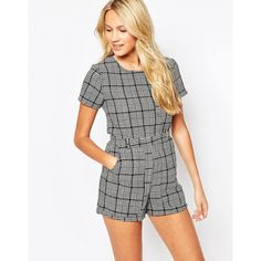 e0a003948d Motel Carter Short Sleeve Romper in Black and White Tweed ( 54) ❤ liked on