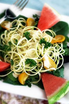 """Raw Zucchini Pasta in a Vegan Curry """"Cream"""" Sauce ~ I always wanted to try a raw zucchini pasta recipe, and this one looks gooood.  :)"""