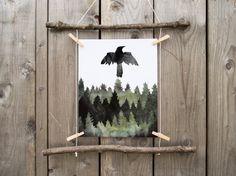 Raven - Printable - Odins Ravens - Huginn - Muninn - Viking - Norse Art - Pagan - Wiccan - Totem - Spirit Animal - Wall Art - Home Decor
