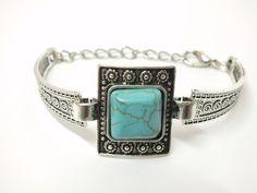 Tibetan Turquoise Bracelet Boho Style Turquoise by Hermitinas