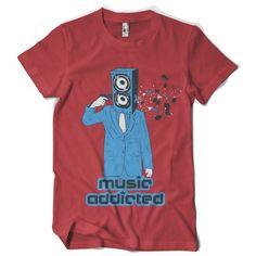 "T-Shirt men ""music addicted"" FARBAUSWAHL! von MAD IN BERLIN auf DaWanda.com"