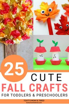 25 Cute Fall Crafts For Toddlers and Preschoolers | Autumn crafts featuring pumpkins, apples, fall trees and leaves for kids ages one year old, two years old, three years old, and four years old. #toddlers #preschoolers #fall #fallcrafts #kidscrafts #autumn