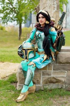 Disney Cosplay Jasmine Boba Fett crossover from Aladdin and Star wars Disney Cosplay, Cosplay Anime, Disney Costumes, Cool Costumes, Costumes For Women, Sheik Cosplay, Halo Cosplay, Comic Con Costumes, Crazy Costumes