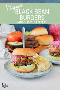 Looking for an amazing vegan black bean burger recipe? Chipotle Black Bean Burgers are super easy, packed with healthy ingredients, and are gluten-free. Vegetarian Comfort Food, Tasty Vegetarian Recipes, Vegetarian Lunch, Dairy Free Recipes, Veggie Recipes, Gluten Free, Vegetarian Protein, Vegan Meals, Easy Recipes