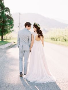 Bride-and-Groom-by-Blue-Rose-Pictures, long hair brides, curls, floral crown, spring wedding, pacific brides, seattle, travel,