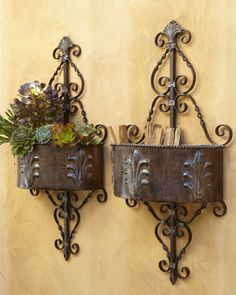 Perfect for creeping thyme or oregano. The scent of herbs is always nice to walk by! Outdoor Wall Planter at Horchow. #Horchow