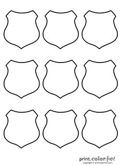 9 blank shields   Print. Color. Fun! Free printables, coloring pages, crafts, puzzles & cards to print