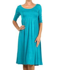Look at this #zulilyfind! Turquoise Half-Sleeve Empire-Waist Dress by 42POPS #zulilyfinds. also in black, purple, red, olive, etc