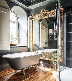 Beautiful French style bathroom! Tap the link now to see where the world's leading interior designers purchase their beautifully crafted, hand picked kitchen, bath and bar and prep faucets to outfit their unique designs.