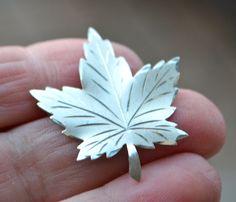 Vintage Sterling Silver Maple Leaf Matte or Brushed Silver with Polished Veins Accent Maker's Mark Stamped on Back by StudioVintage on Etsy