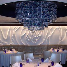 Gorgeous Blu Restaurant on Celebrity Millennium Hall Interior, Luxury Interior, Commercial Design, Commercial Interiors, Restaurant Design, Restaurant Bar, 3d Wall Panels, Wall Finishes, Wall Patterns