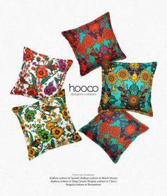 designer cushions, colourful, bright, decorative pillows, pillow cover, cushion cover. Scatter cushion. Throw cushion. www.hooco.com.au