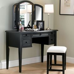 "Vanity, Mirror and Bench in ""Antique Black"" with Sand Through Terra Cotta - Powell Furniture - - Vanity Table Sets Makeup Vanity Furniture, Bedroom Makeup Vanity, Bedroom Vanity Set, Makeup Table Vanity, Vanity Desk, Bedroom Vanities, Wood Vanity, Makeup Vanities, Master Bedroom"