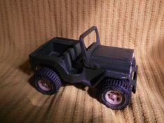 Vintage Tonka Pressed Steel Army Green Military Jeep vehicle truck