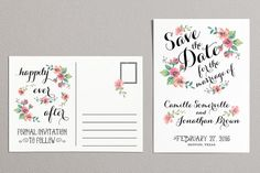 Printable Save the Date Postcard Vintage Save the Date by plpapers