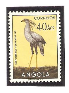 Angola 1951, 40Ags. Serpentarius serpentarius. Secretary bird.