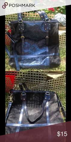 IMAN leather purse Blue and black, glitter, some wear on leather ...see pic, internal zip, 2 open flap pockets, handheld purse as well IMAN Bags Shoulder Bags