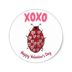 Cute Valentines Day Heart Ladybug Pink Hugs Kisses Classic Round Sticker - cyo diy customize unique design gift idea