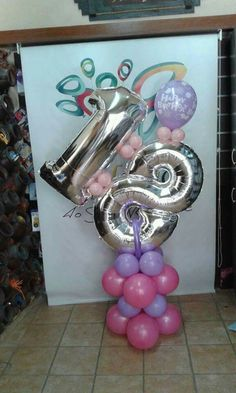 Personalized balloon column for an 18th birthday. Nice!