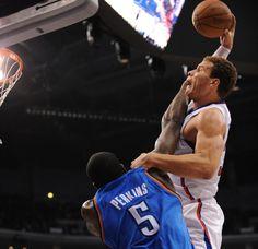 Blake Griffin dunks over Kendrick Perkins in an NBA regular season matchup.  What was Perkins