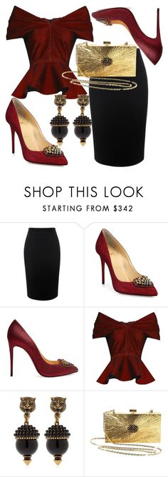 """""""Evening Escalades"""" by fashionforwarded ❤ liked on Polyvore featuring Alexander McQueen, Christian Louboutin, Emilio De La Morena, Gucci, Valentino and embellishedshoes"""