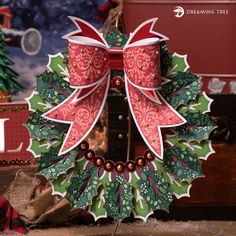 Christmas Tree With Gifts, Christmas Tag, Christmas Ornaments, 3d Paper Projects, 3d Paper Art, Holly Wreath, Snowflake Cards, Pop Up Cards, Wreaths