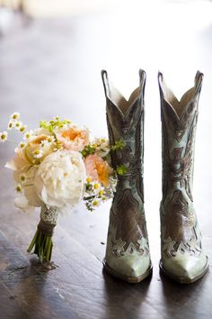 A must have picture!! #boots Photography by BrintonStudios.com Design, Planning + Florals by lovethisdayevents.com  Read more - http://www.stylemepretty.com/2013/07/24/devils-thumb-ranch-wedding-from-brinton-studios-love-this-day-events/