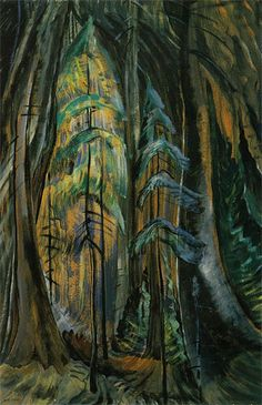 Emily Carr, Canadian Group of Seven Tom Thomson, Canadian Painters, Canadian Artists, Emily Carr Paintings, Group Of Seven, Impressionist Paintings, Impressionism, Forest Painting, Art Moderne