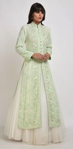 Ivory-Green Resham Chikankari Parsi Gara & Kamdani Jacket With Skirt Designer Dress For Men, Indian Designer Outfits, Ladies Dress Design, Designer Dresses, Kurti Designs Party Wear, Kurta Designs, Dress Designs, Blouse Designs, Long Kurti With Skirt