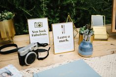 Gallery of Vy + Nick's bright and modern Los Angeles Wedding at The Elysian. Full of brass and gold details plus the cutest custom totes made by the graphic designer bride, you're sure to pin some incredible inspo from this one! Custom Totes, Card Boxes, Table Signs, Guest Books, Wedding Guest Book, Frames, Place Card Holders, The Incredibles, Bright