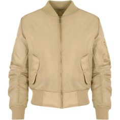 Lain Zip Bomber Jacket (38 CAD) ❤ liked on Polyvore featuring outerwear, jackets, camel, padded bomber jacket, cropped bomber jacket, lined bomber jacket, evening jacket and lined jacket