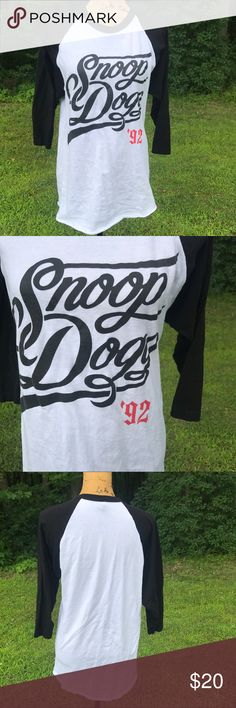 Vintage Snoop Dogg Baseball Tee Washed but never worn. Snoop Dogg vintage baseball tee. Size medium. 3/4 length sleeve. NOT urban Outfitters, tagged for views. Urban Outfitters Tops Tees - Long Sleeve