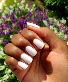 "Essie ""Marshmallow"" on dark skin. Nail polish on dark skin. - All For Hair Color Trending Sns Nails Colors, New Nail Colors, Pedicure Colors, Toe Nail Color, Nail Polish Colors, Pedicure Ideas, Nail Polishes, White Pedicure, Dark Skin Nail Polish"