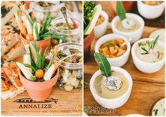 veggies in little pots for a garden themed party