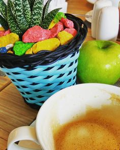 colorful #coffee #coffeetime #coffeeaddict #coffeelover #caffeine #instacoffee #igcoffee #coffeeporn #coffeeology #coffeoftheday #coffeeplace #coffeeplease #coffeeshes #capuccino #coffeeculture #kopi #breakfast #latepost #lateposts #apple #fruit #cacti #cactus #green #stones #rainbow #serpong #tangerang #indonesia by avelinyo