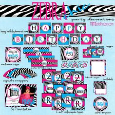 Zebra Party Decorations- Zebra Birthday Party Decorations PDF. $26.99, via Etsy.
