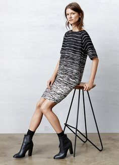 Vince Painted Stripe Raglan Sleeve Dress - Lucea Row