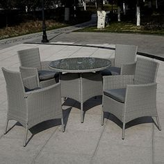 Super buy 5 PC Patio Rattan Furniture Set Outdoor Backyard Dining Table and 4 Chairs Gray