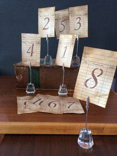 A Vintage Inspired Library Cards for Table Numbers. A lovely idea for parties/weddings/showers. A great idea for baby showers! (have your