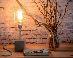 Lampe Bureau pot bois métal lampe personnalisable par EunaDesigns