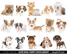 Gráfico 2 cachorro Clipart perros lindo clip por GraphicPassion