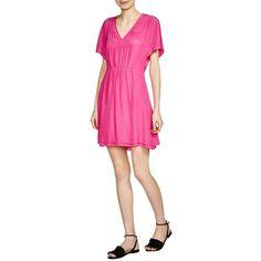 Maje Rimeo V-Neck Dress (200 CAD) ❤ liked on Polyvore featuring dresses, fuchsia, maje dress, v neckline dress, fuschia pink dress, dolman sleeve dress and fuchsia pink dress