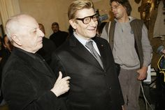 Pierre Bergé and Yves Saint Laurent at the opening of the Yves Saint Laurent Foundation in Paris in March 2004.
